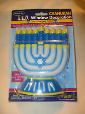 "New Chanukah L.E.D. Window Decoration 6"" Menorah Color Change Battery Operated"