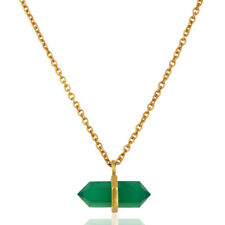 Gold Plated Terminated Pencil Designer Green Onyx Pendant Fashion Jewelry