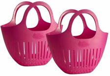 New listing Fruit Basket Pink Mini Garden Colander Harvest Bag Built-in Handles 2-Pack