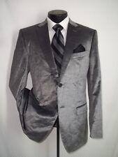Zegna, Ermenegildo Zegna Shinny Metallic Gray Velvet 2 Buttons Coat, Jacket 40 R