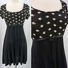 Vintage 90s Black Daisy Tiny Floral Slinky Stretch Babydoll Mini Grunge Dress M