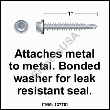 (2500) 14 x 1 Self Drilling TEK Hex  Head Neo Washer Roof Screw #137781