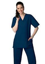 Scrub Set Navy V Neck Top Drawstring Pants L/M Unisex Medical Uniforms 2 Piece