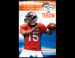 Original TIM TEBOW Denver Broncos QB Rookie Year 2010 NFL Action Wall POSTER