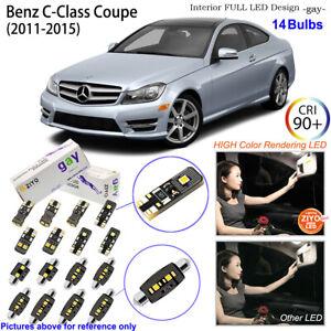 14 Bulb Xenon White LED Interior Light Kit For 2011-2015 Benz C Class W204 Coupe