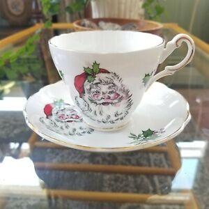 Vintage Bone China Santa Tea Cup & Saucer - Regency England Christmas Tea Cup