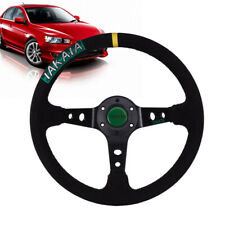 Universal Suede Stitch 35cm Racing Sport Drift Steering Wheel with Horn Button