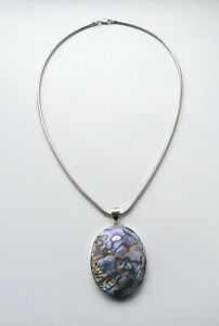 STERLING 925 SILVER & ABALONE, PAUA SHELL LARGE PENDANT & SILVER 925 SNAKE CHAIN