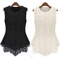 Elegant Shirt Womens sleeveless ladies Crochet blouse Lace Peplum Top Size 6-16