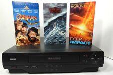 Rca Vr601Hf 4-Head Hi-Fi Vcr Vhs Cleaned Tested +Bonus 3 Movies bundle
