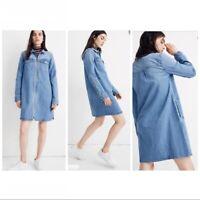EUC Madewell Denim Chambray Zip Front Shirt Dress  women's Size Medium M