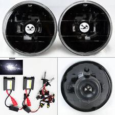 "5.75"" 5 3/4 Round 6K HID Xenon H4 Black Glass Headlight Conversion Pair Mercury"