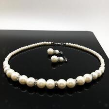 Elegant Pearl Crystal Necklace and Earrings Bridal Wedding Jewellery Set
