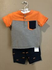 First Impressions NWT infant Boy Summer Cotton Outfit 0-3 Months Gold Fish
