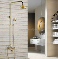 Luxury Gold Color Brass Bathroom Rain Shower Faucet Set Tub Mixer Tap ygf453