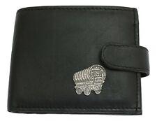 Romany Caravan Leather Wallet BLACK Card Slots Mens Present Traveller Gift 448