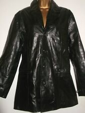 RICANO BEST LEATHER DESIGN BRAND NEW BLACK SHINY LEATHER COAT SIZE M SUPERIOR