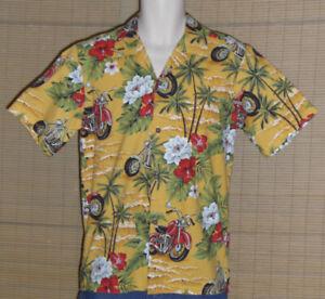 Hawaii Brand Hawaiian Shirt Yellow Red Motorcycles Size Small