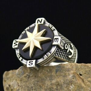 Solid 925 Sterling Silver Onyx Stone Sailor's Compass Anchor Men's Ring