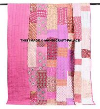 Indian Silk Patola Kantha Quilt Vintage King Bedspread Throw Patchwork Gudri