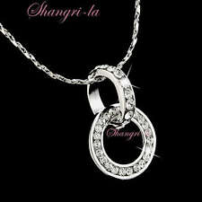 18K White GOLD Plated Double Rings Pendant NECKLACE Gen SWAROVSKI CRYSTAL L138