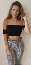 Womens Ladies off Shoulder Chunky Knit Knitted Oversize Baggy Sweater Jumper Top Short Sleeves Black-rushed Ruffle Trim Edge Frill UK 4