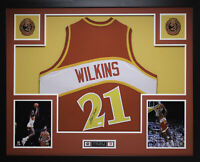 Dominique Wilkins Autographed and Framed Red Hawks Jersey Auto JSA COA (D2-L)
