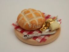 Dolls house food: White crusty  bread and butter board   -By Fran