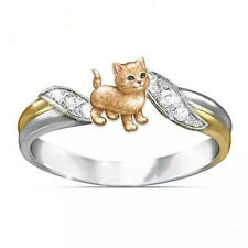 925 Silver Two Tone Gold Wedding Charming White Sapphire Cute Orange Cats Rings