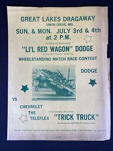 Vtg 1960's Great Lakes Dragaway Union Grove Wisconsin Drag Car Race Sign Poster