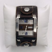 Rare Fossil Cuff Mens Watch Wood Grain And Brushed Aluminum Style Brown Leather