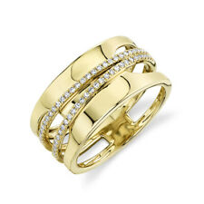14K Gold Diamond Unique Wide Cocktail Ring Womens Round Cut Right Hand Natural