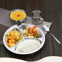Stainless Steel 3Compartment Divided Plate Food Serving Lunch Dinner Dish Tray