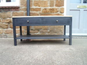 BESPOKE H50 W80 D35 COFFEE TABLE HALL unit stand Black with warm oak top