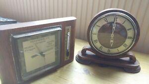 VINTAGE Garrard Clock  AND Barometer Thermometer Wood Mounted SPARES OR REPAIR