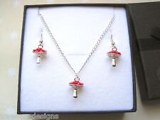 3D RED ENAMEL TOADSTOOL MUSHROOM Silver Plated Necklace Earrings Set Gift Box