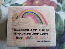 Rubber Stamp Christian Bible Verse Quote John 20:29 Blessed Who Not Seen Believe