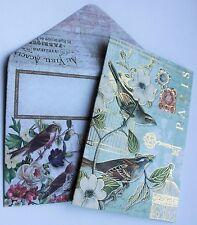 *PUNCH STUDIO Set of 4 Gold Foil Blank Note Cards w/Env ~ Birds ~Floral ~PARIS