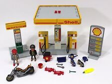 TOY Lot Playmobil SHELL GAS STATION #3014 1998 Service Motorcycle People