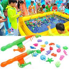 Fish Game Magnetic 2 Fishing Pole Rod + 20pcs Fish Model Set Kid Educational Toy
