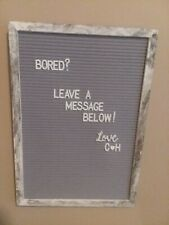 "Rustic Gray Felt Letter Board With 374 Characters Barnwood Frame Large 12"" x 17"""