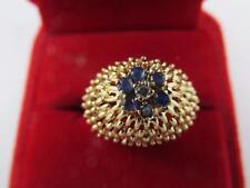 Vintage 14k Solid Yellow Gold Hallmark Handmade Diamond Blue Spinel Ring Sz 7