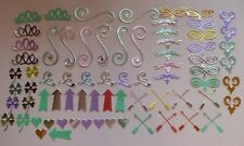 Lot of Die Cuts Embellishments for Cards & Scrapbooks Most Metallic Card Stock