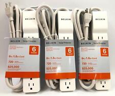 Set of 3 Belkin 6 Outlets Commercial Surge Protector 6 ft