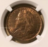 1901 GREAT BRITAIN ONE PENNY NGC MS 65 RB - BRONZE - 17 in HIGHER GRADES