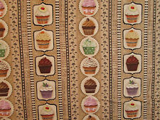 CUP CAKES CUPCAKES TAN BAKERY DESSERT ROWS COTTON FABRIC FQ