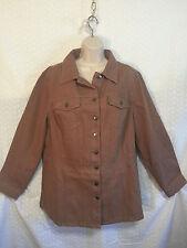 Women's 18w Plus Brown Surgar Demin Long Jean Jacket Buttons Long Sleeve Casual