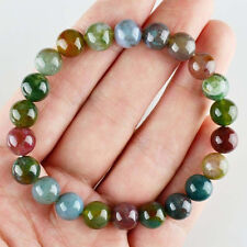 """Fashion Natural 8mm Multi-Color Agate Round Beads Stretchy Bangle Bracelet 7.5"""""""