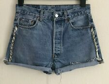 LEVI'S 501 Blue Denim High Waisted Cut-Off Shorts with Studs W32