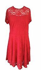 RED Skater Dress Size 12 Lace Zanzea